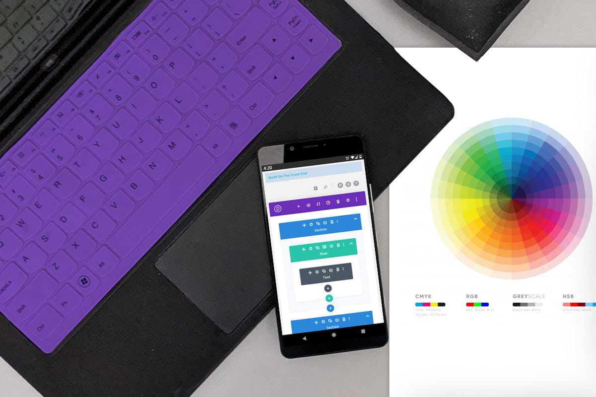 Smartphone with website blueprint and color wheel